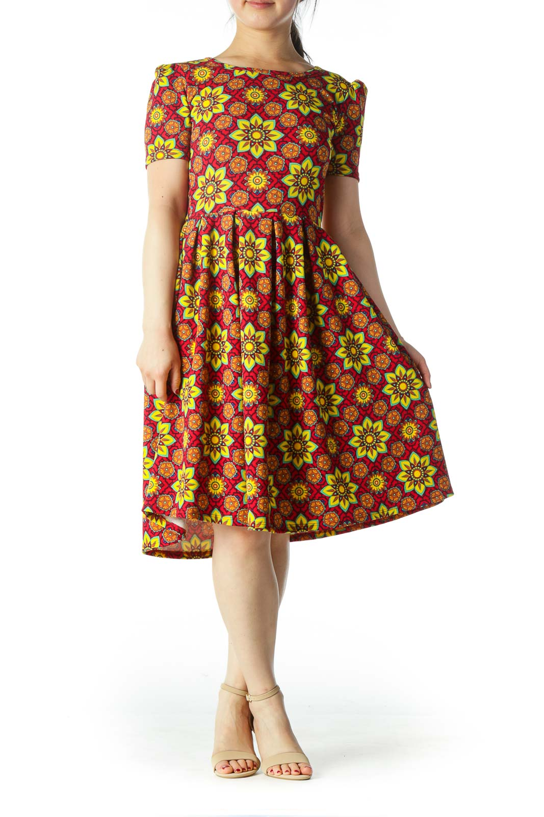 Red and Yellow Floral Sun Dress