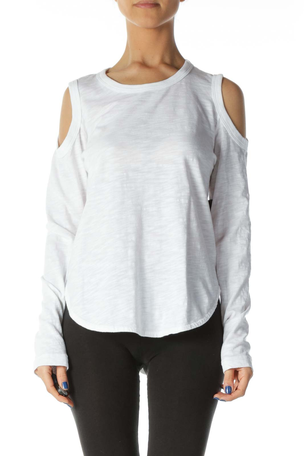 White 100% Cotton Cold-Shoulder High-Low Knit Top