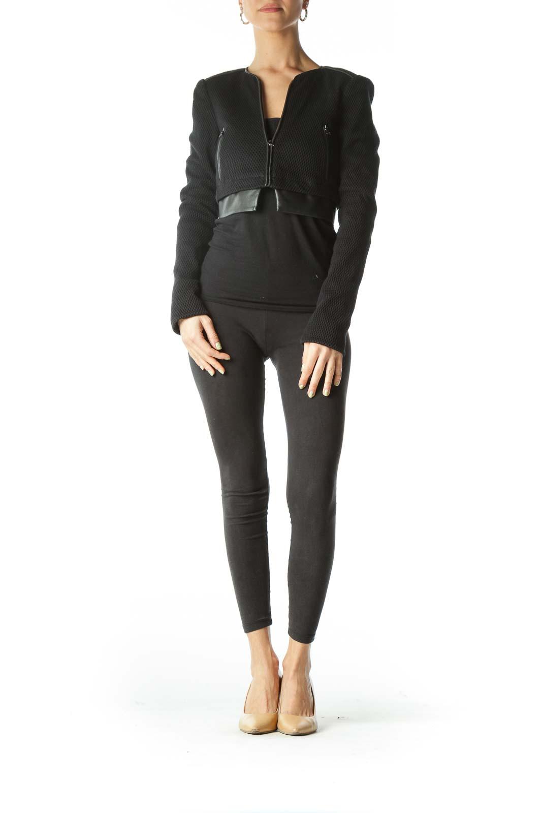 Black Cropped Mesh Jacket