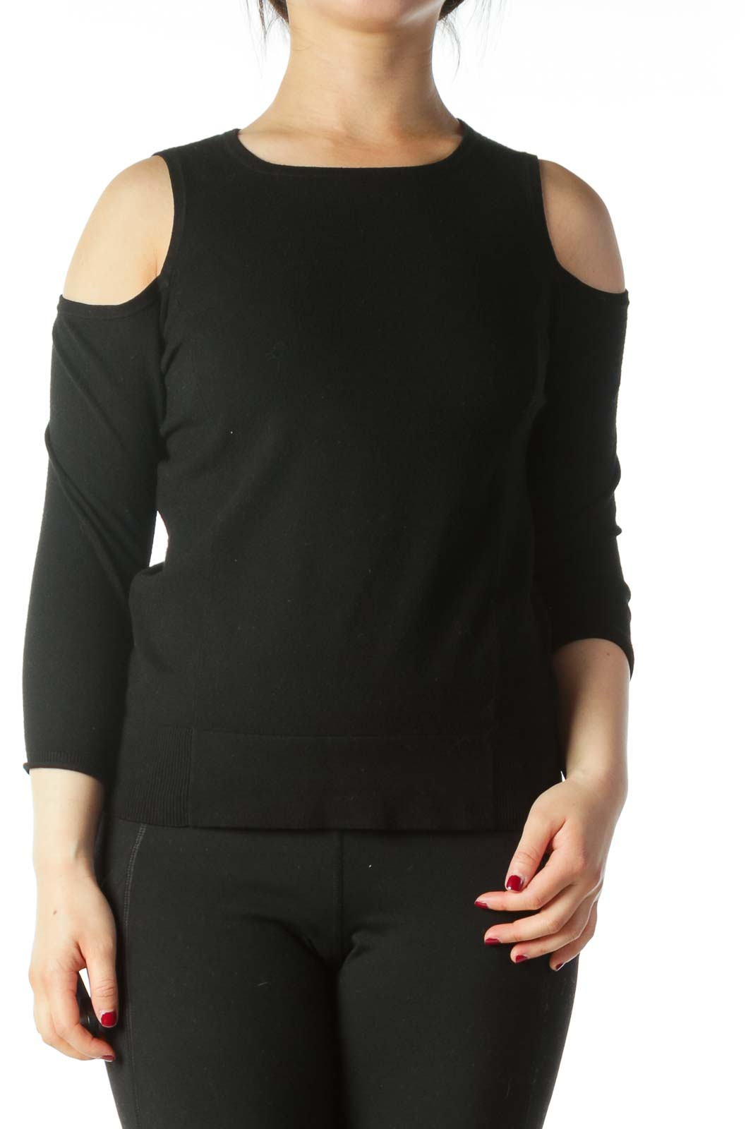 Black Cold-Shoulder Stretch 3/4 Sleeve Knit Top