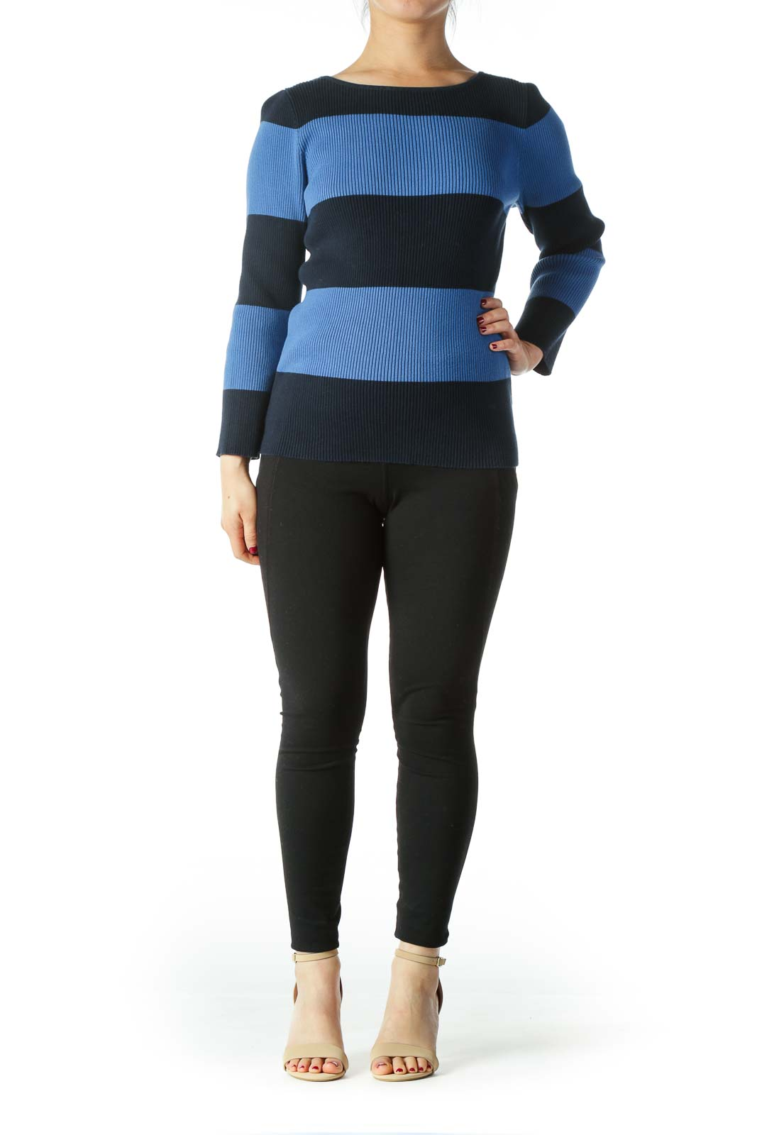 Blue and Navy Striped Sweater