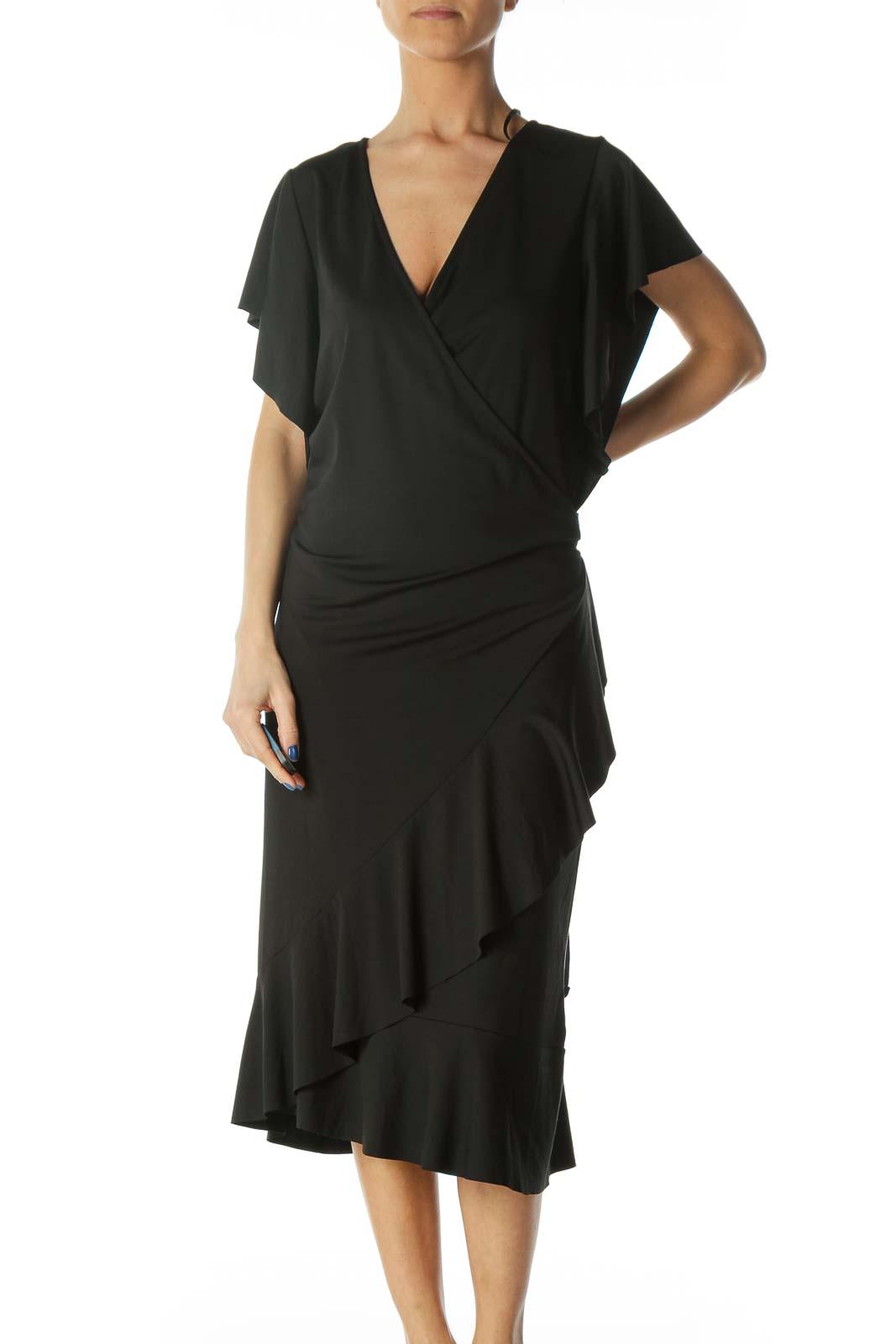 Black V-Neck Flare Details Light Wrap Dress