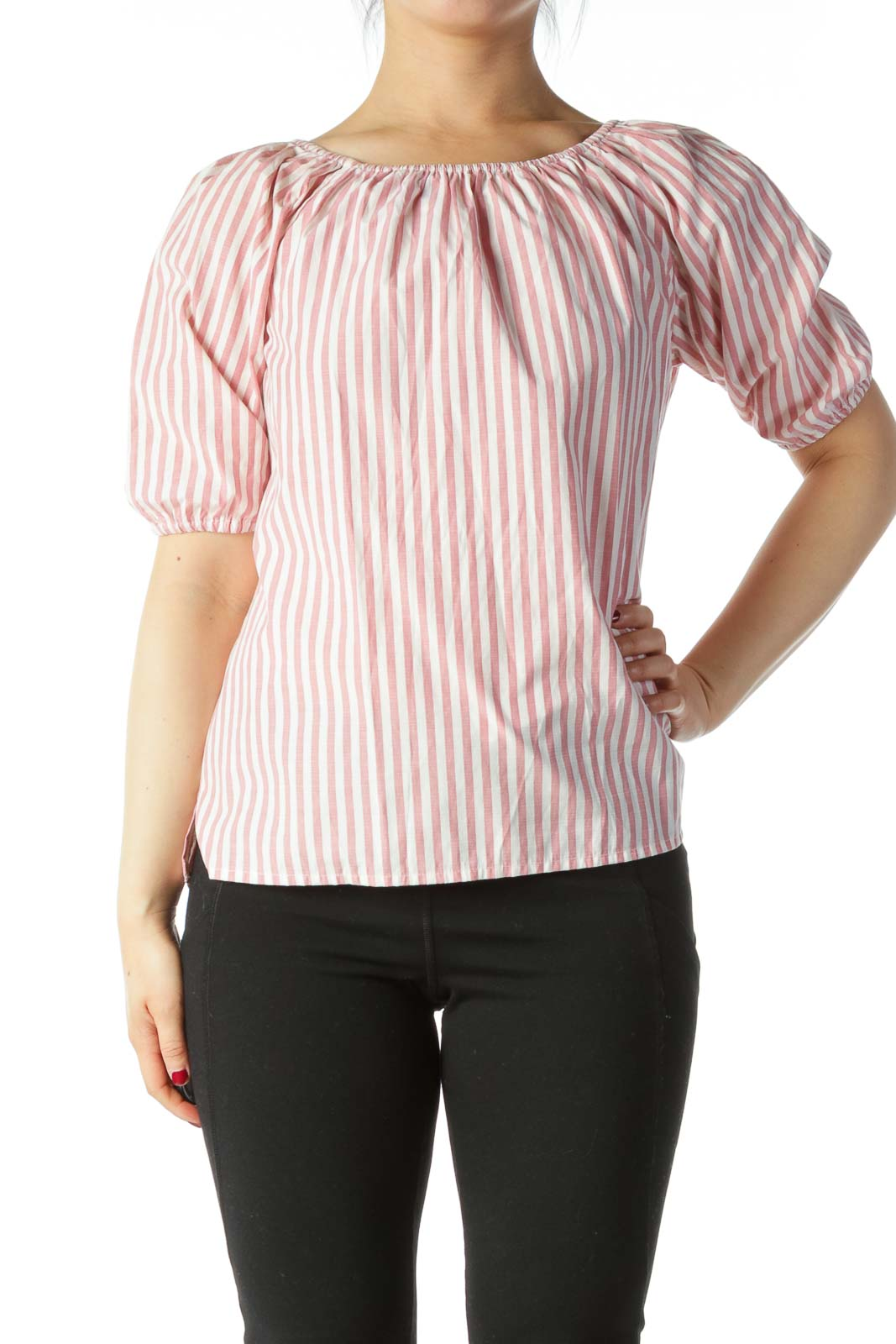 Pink White Striped Cold Shoulder Cotton Top