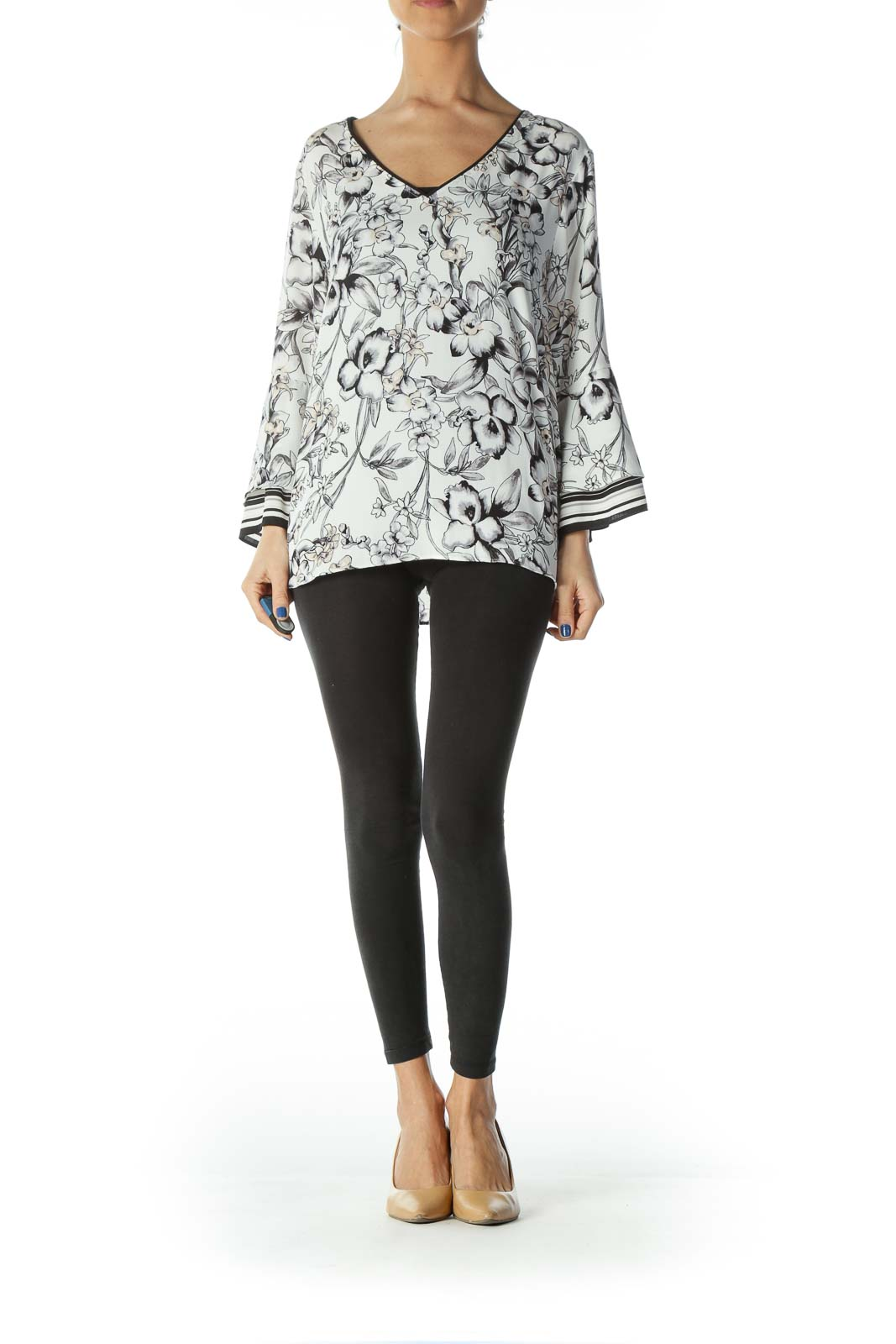 Black White Beige Floral Print Shift Blouse