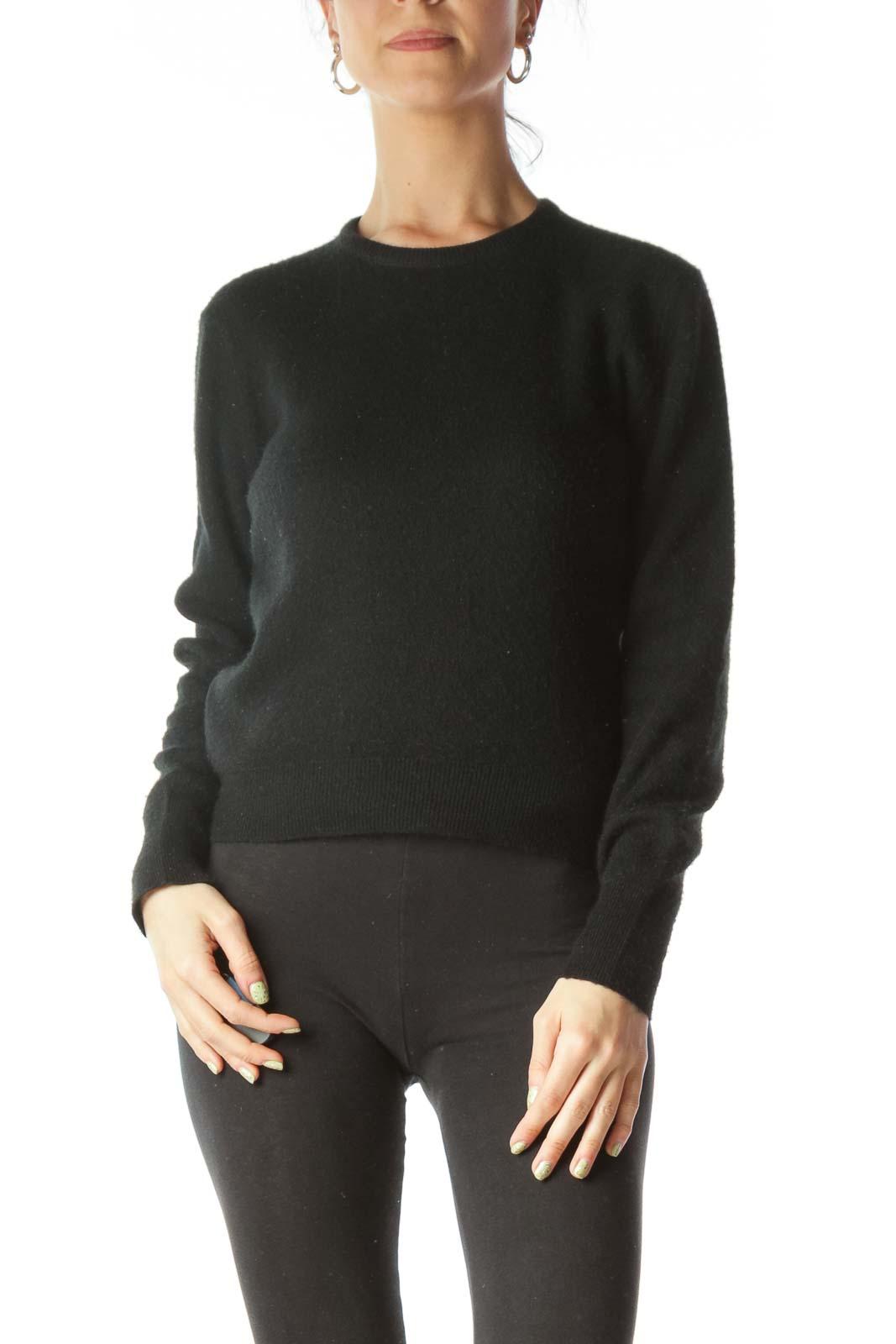 Black Round Neck Long Sleeve Sweater