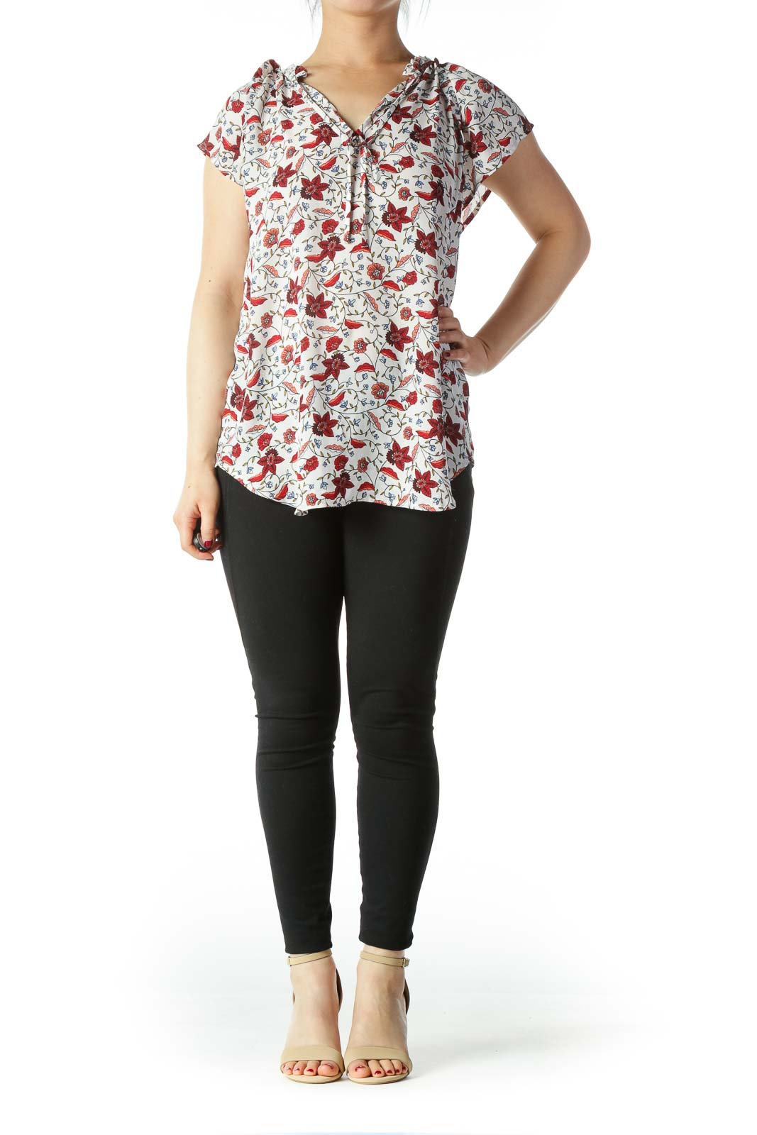 Multicolored Floral Print Flare Detail Shift Top