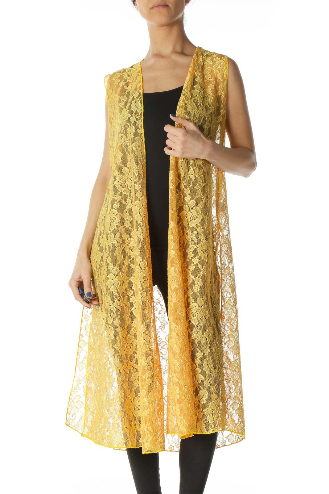 Yellow Lace Body Long Sleeveless Cardigan