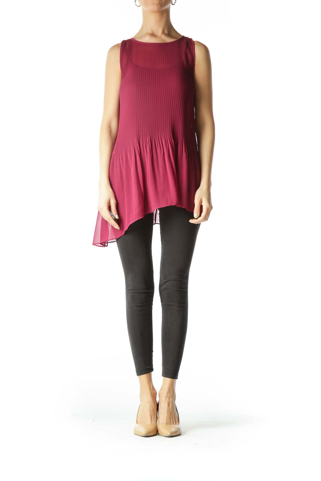 Burgundy See-Through Pleated Flared Top
