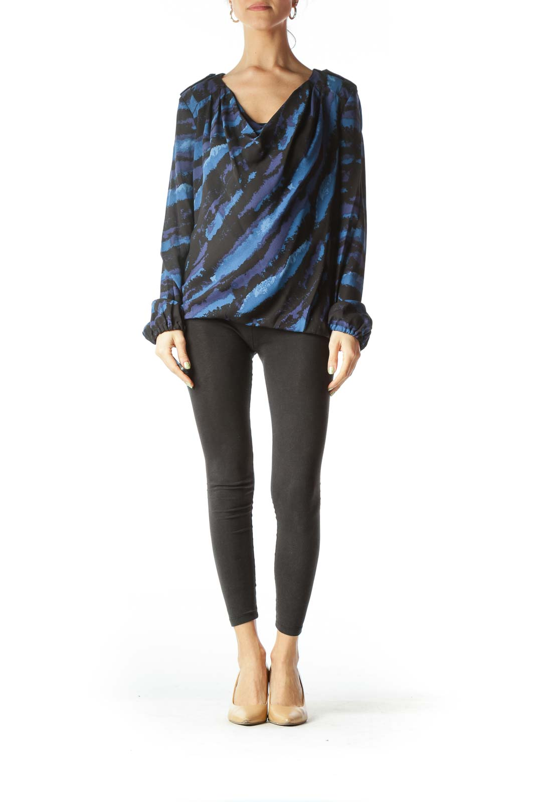 Blue, Black, & Purple Silk Blouse