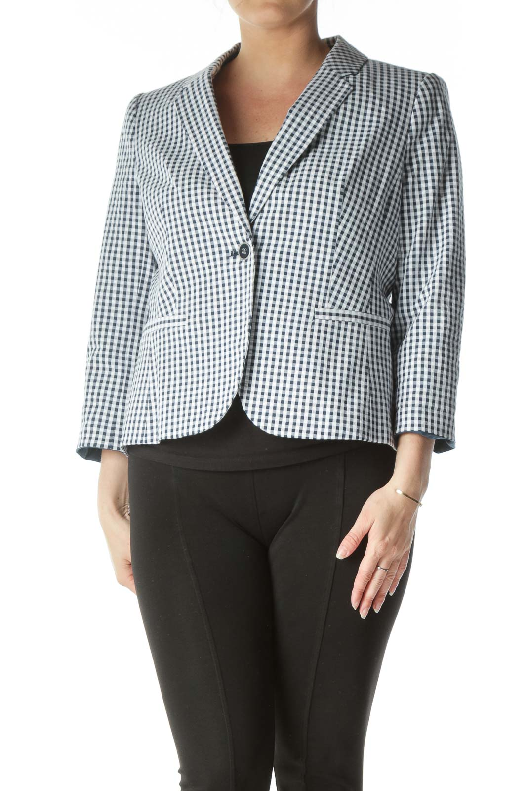 Blue White Deep V-Neck Checkered Blazer