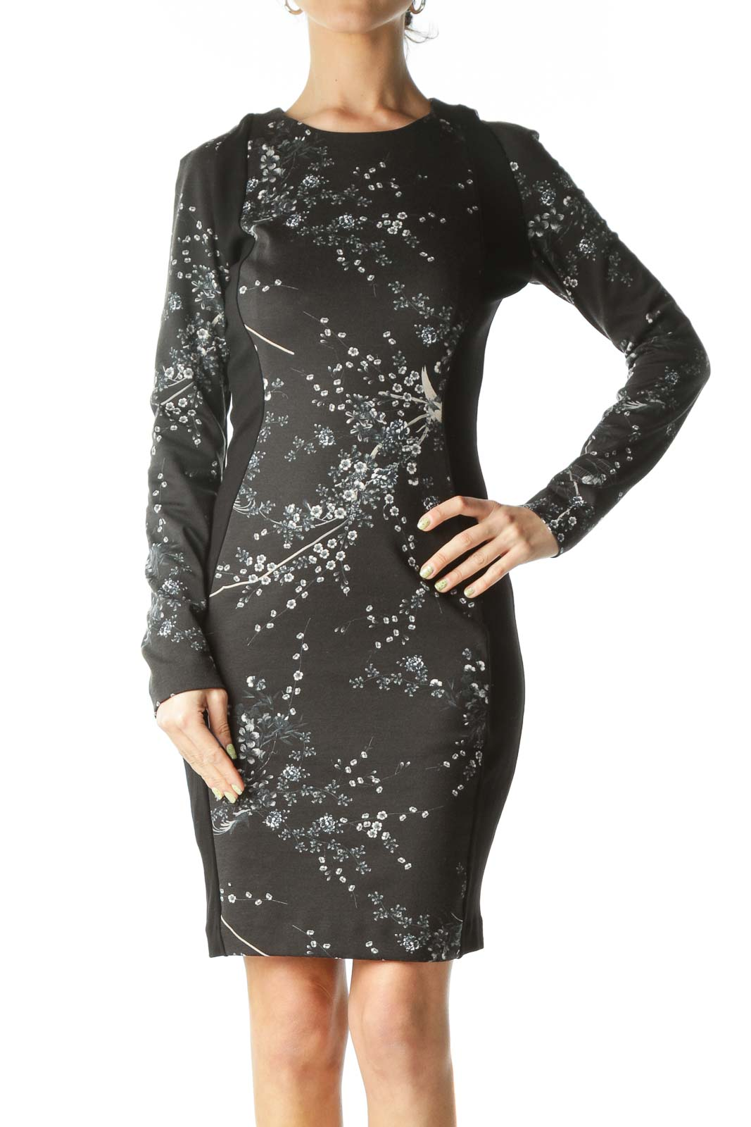 Black Floral Long-Sleeve Bodycon Dress