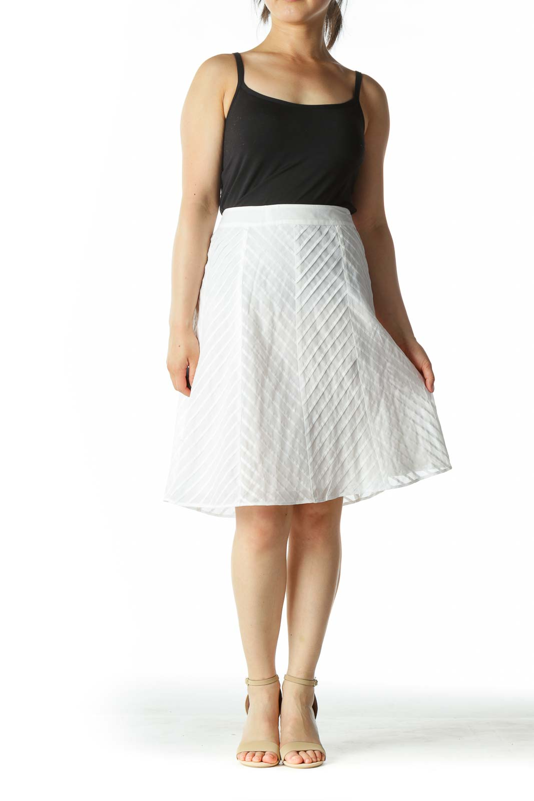 White Zippered Pleated Patterned A-Line Skirt