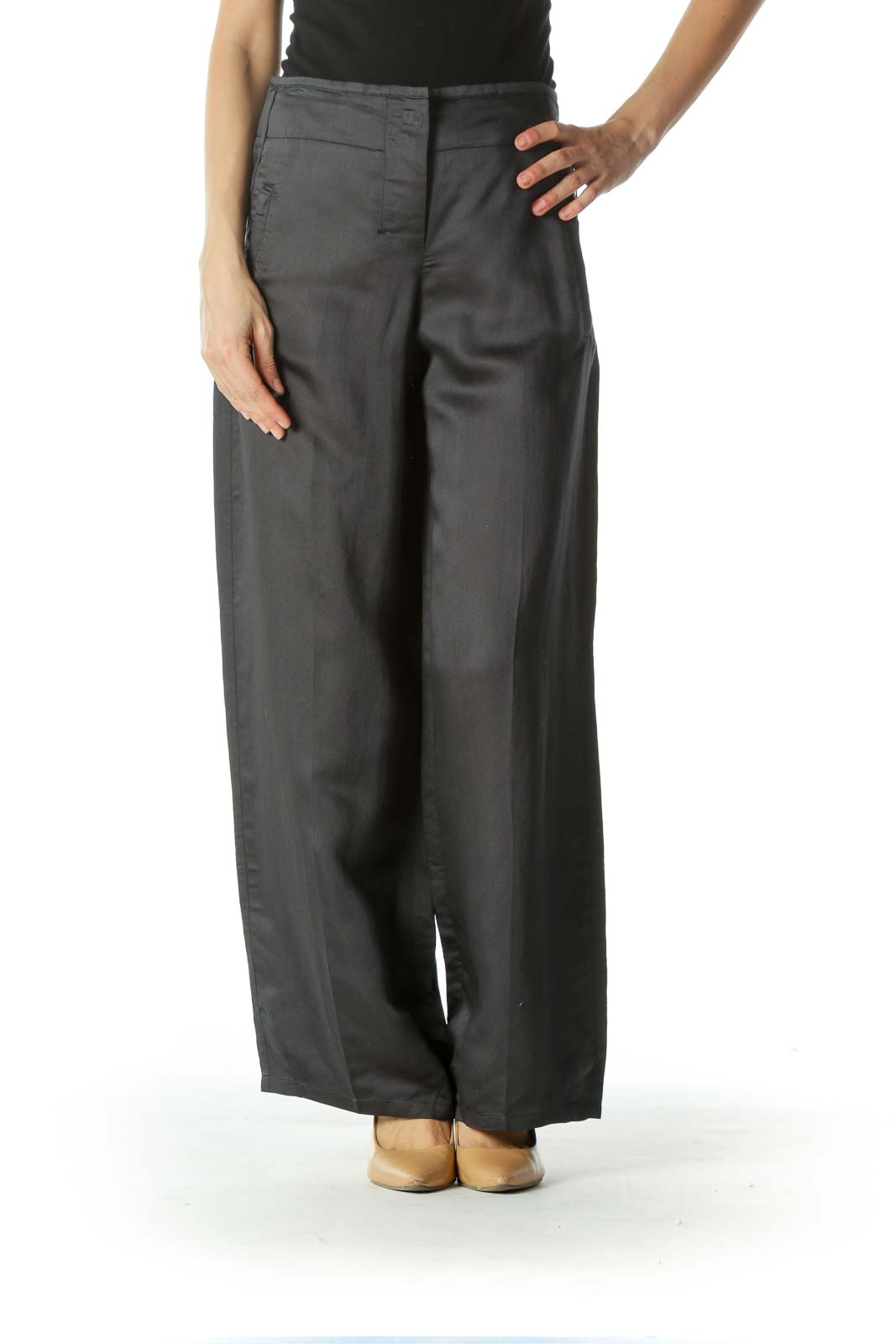 Gray Drawstring Waist Wide Leg Pants