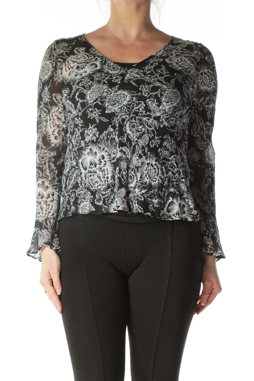 Black and White Bell-Sleeve Blouse