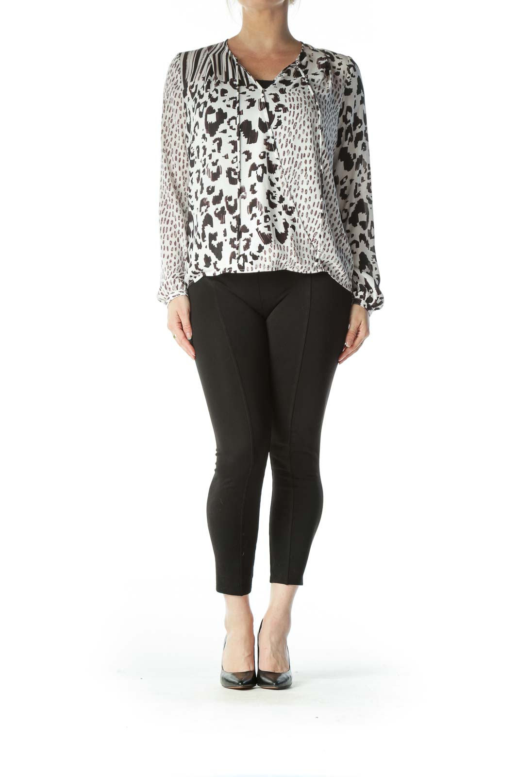 White and Brown Animal-Print Blouse