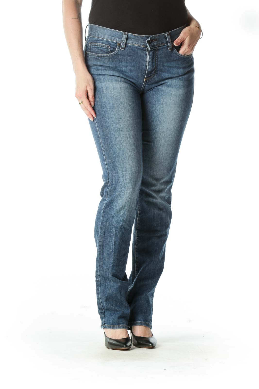 Blue Mid-Rise Medium Wash Boot-Cut Jeans