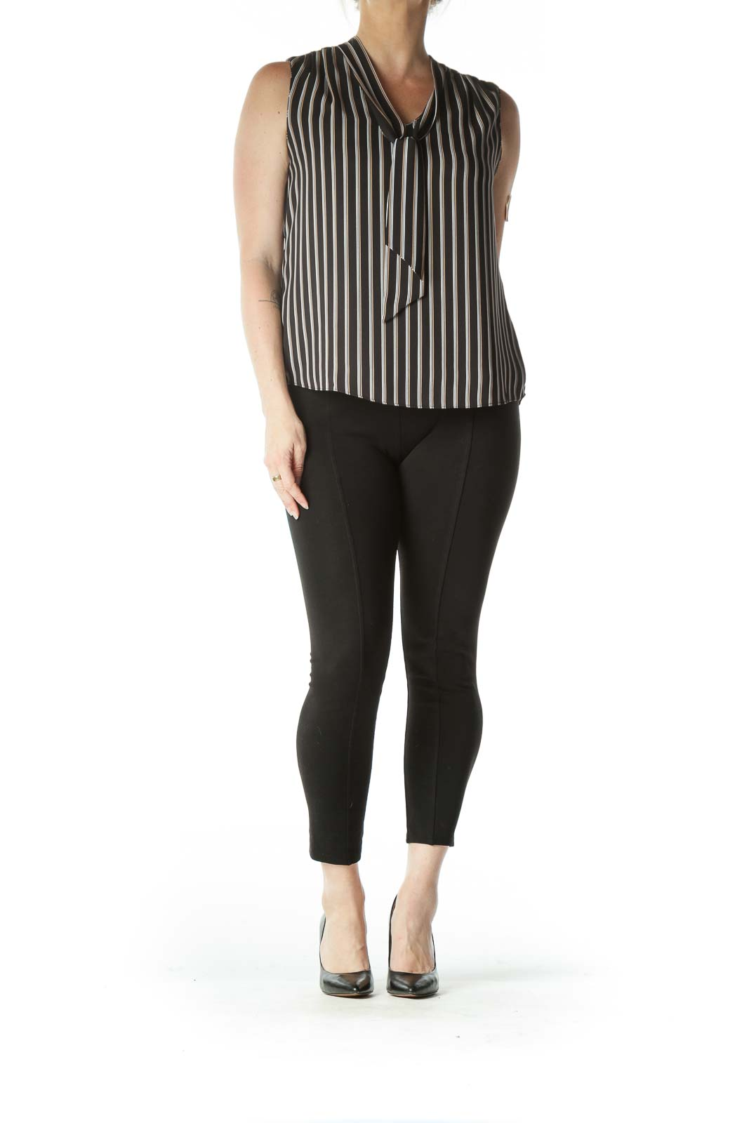 Black and White Striped Neck-Tie Sleeveless Blouse
