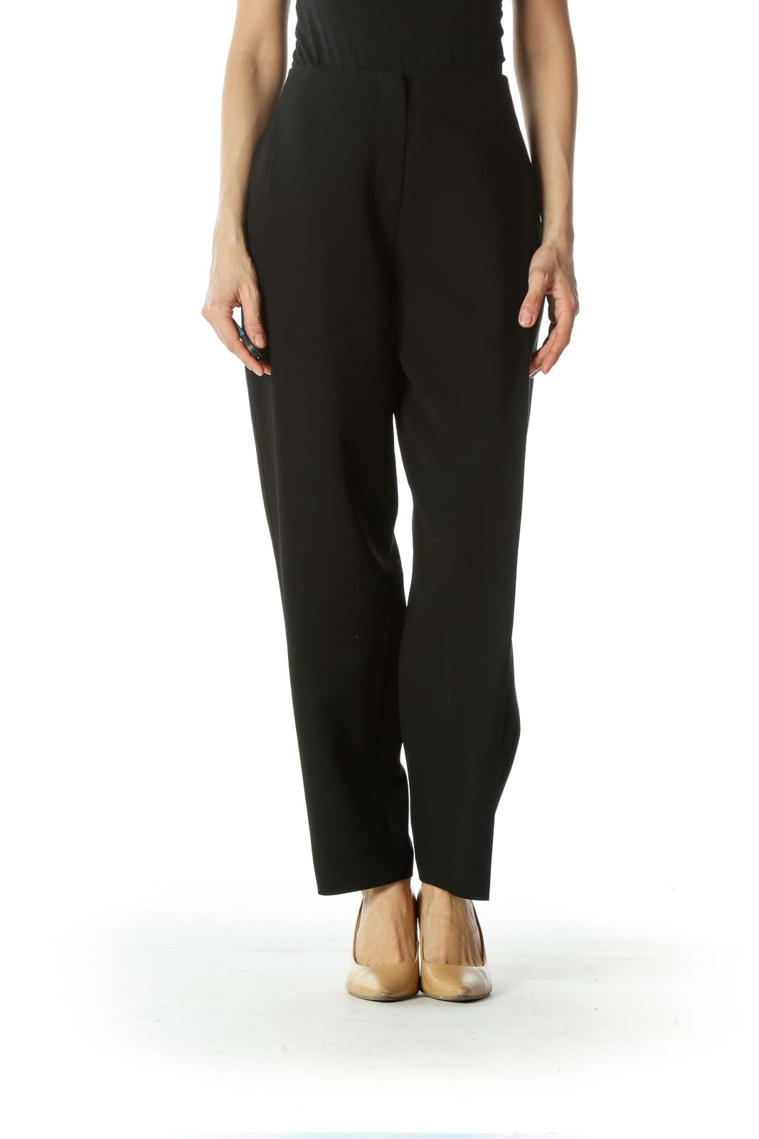 Black Pleated Straight leg Pants