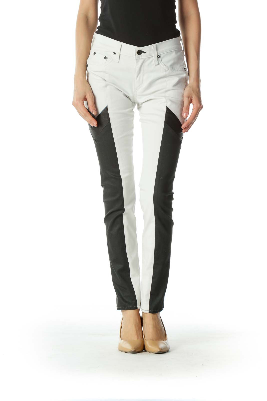 White 2-Tone Black Leather Skinny Jeans