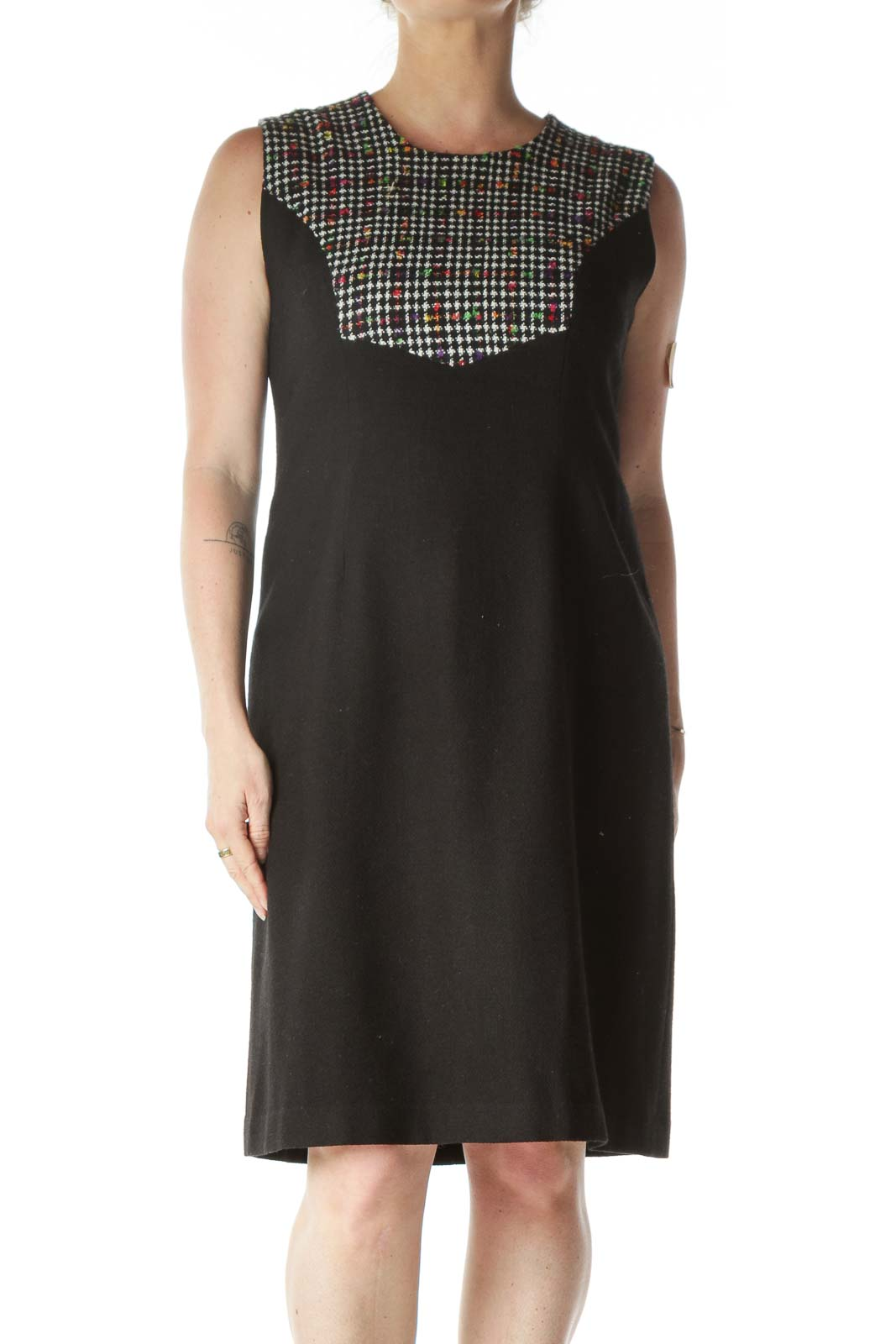 Black and Multicolor Detail Sleeveless Dress