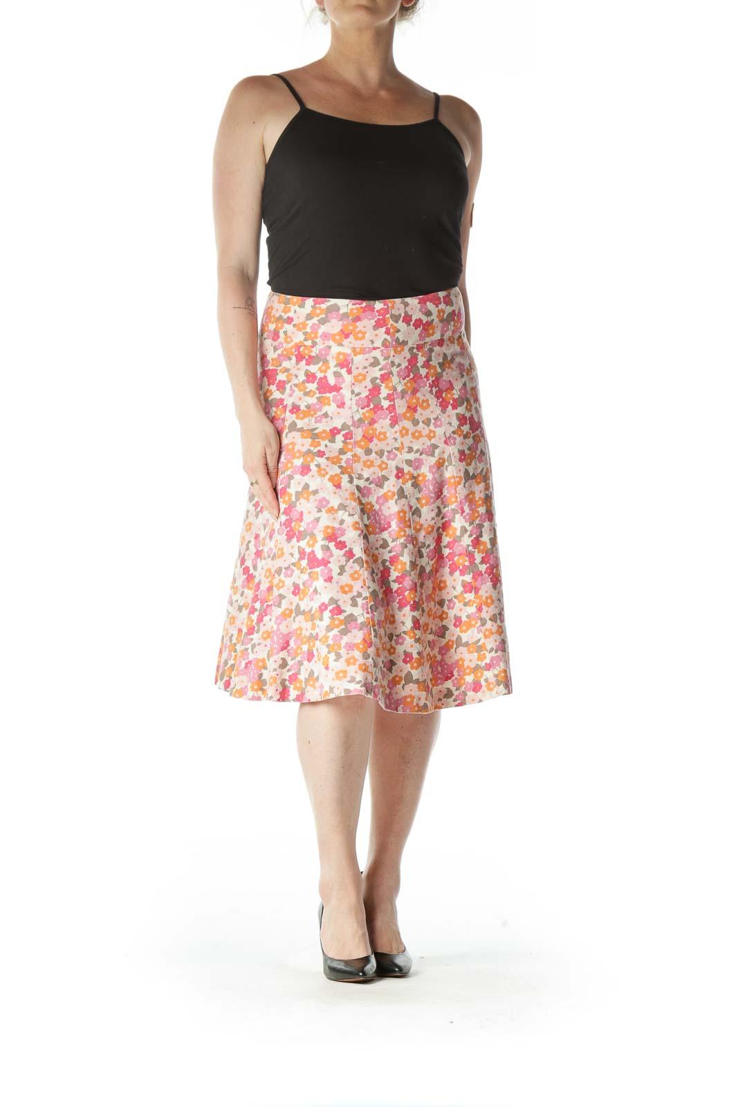 Pink Floral Paneled Skirt