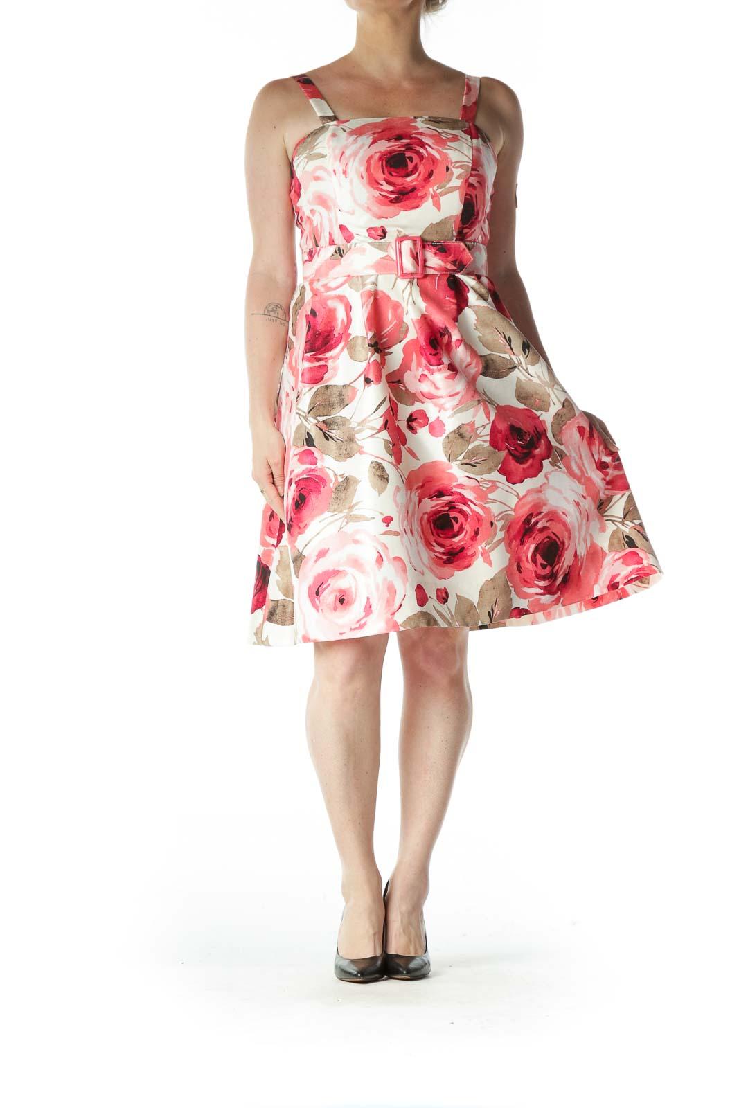 Pink Floral Belted Sun Dress