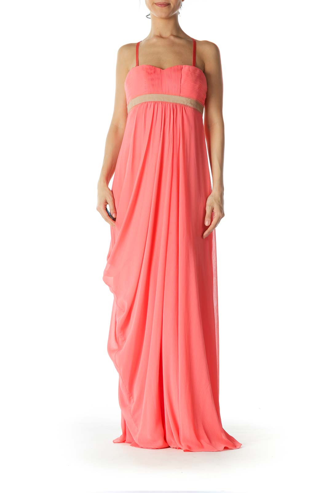 Pink Strapless Draped Evening Dress