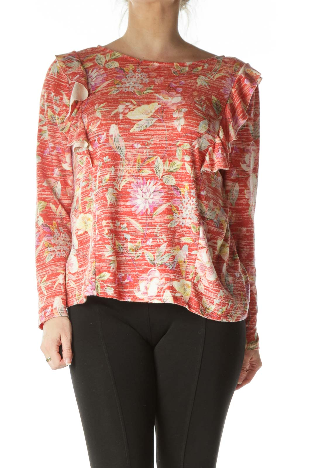 Red Floral Long Sleeve