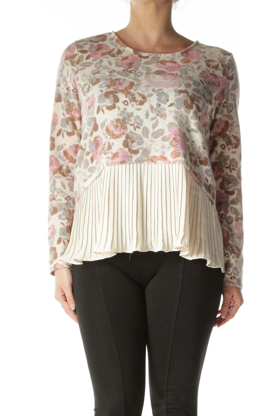 Beige Floral Pleated Long Sleeve