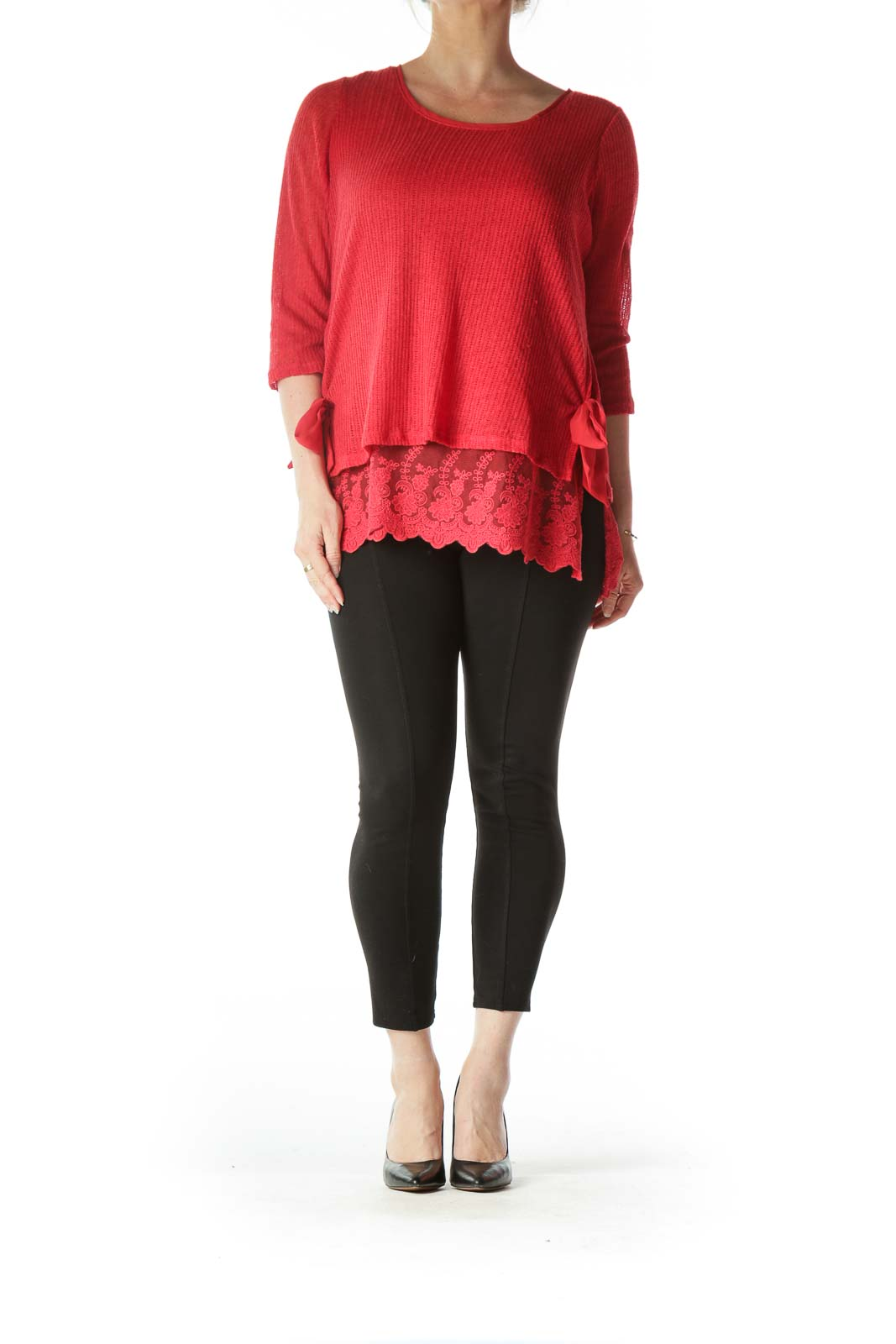 Red Knit Long Sleeve