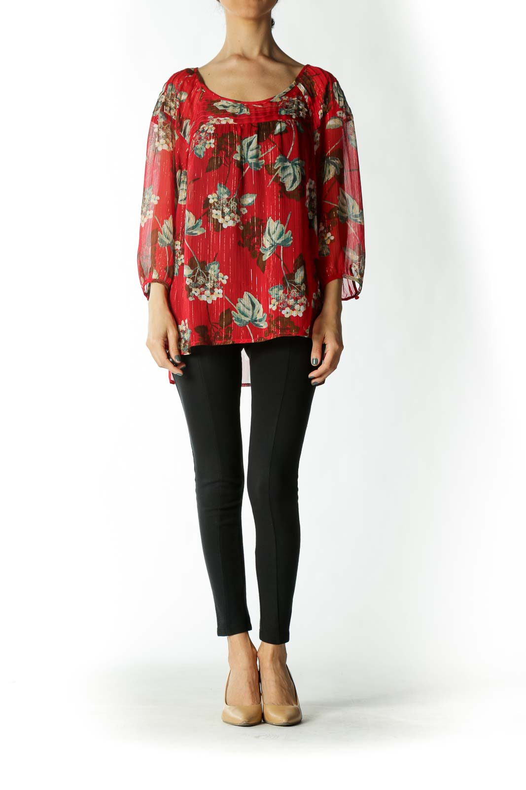 Red Floral Sheer 3/4 Sleeve Blouse