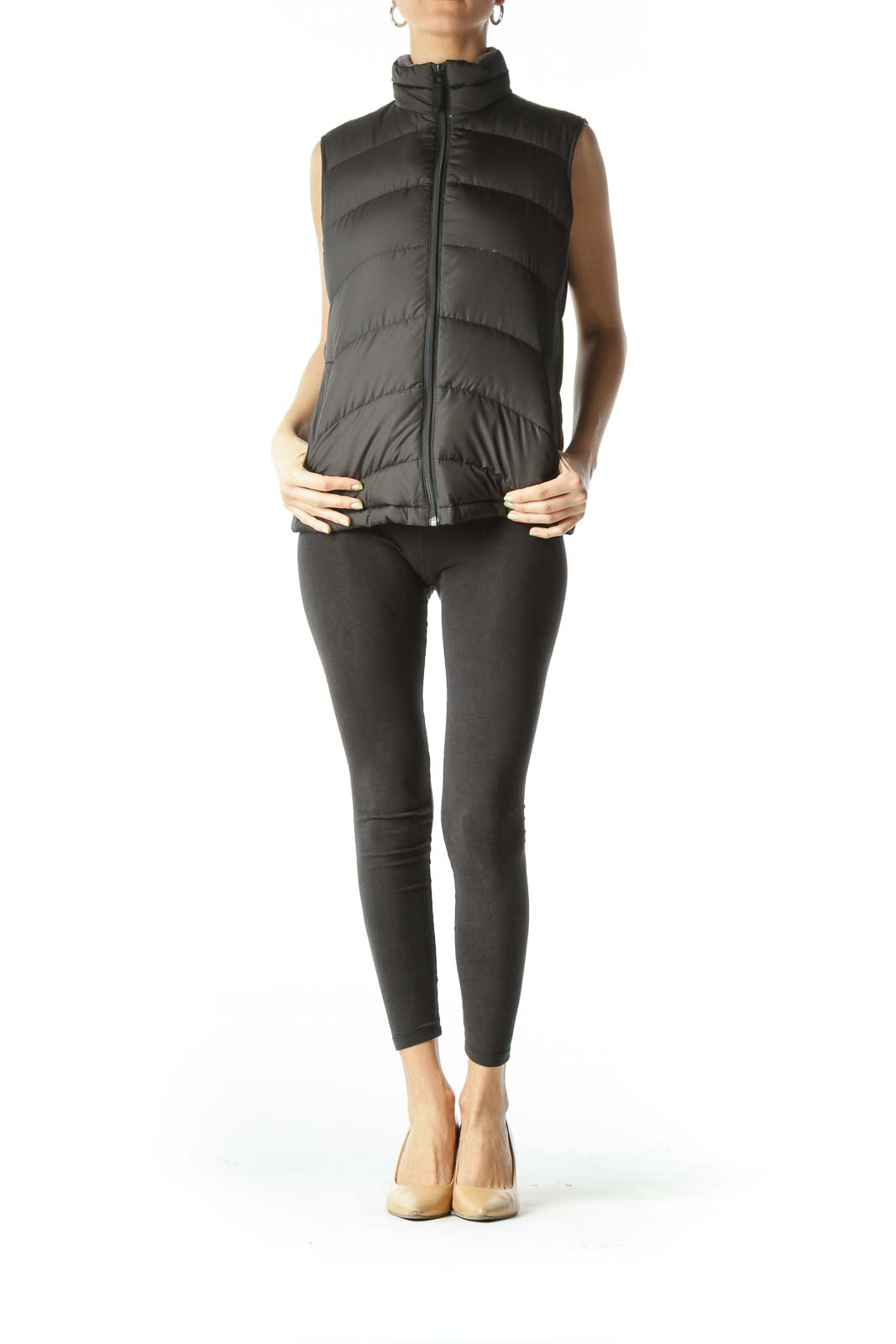 Black Puffy Zippered Jacket Vest