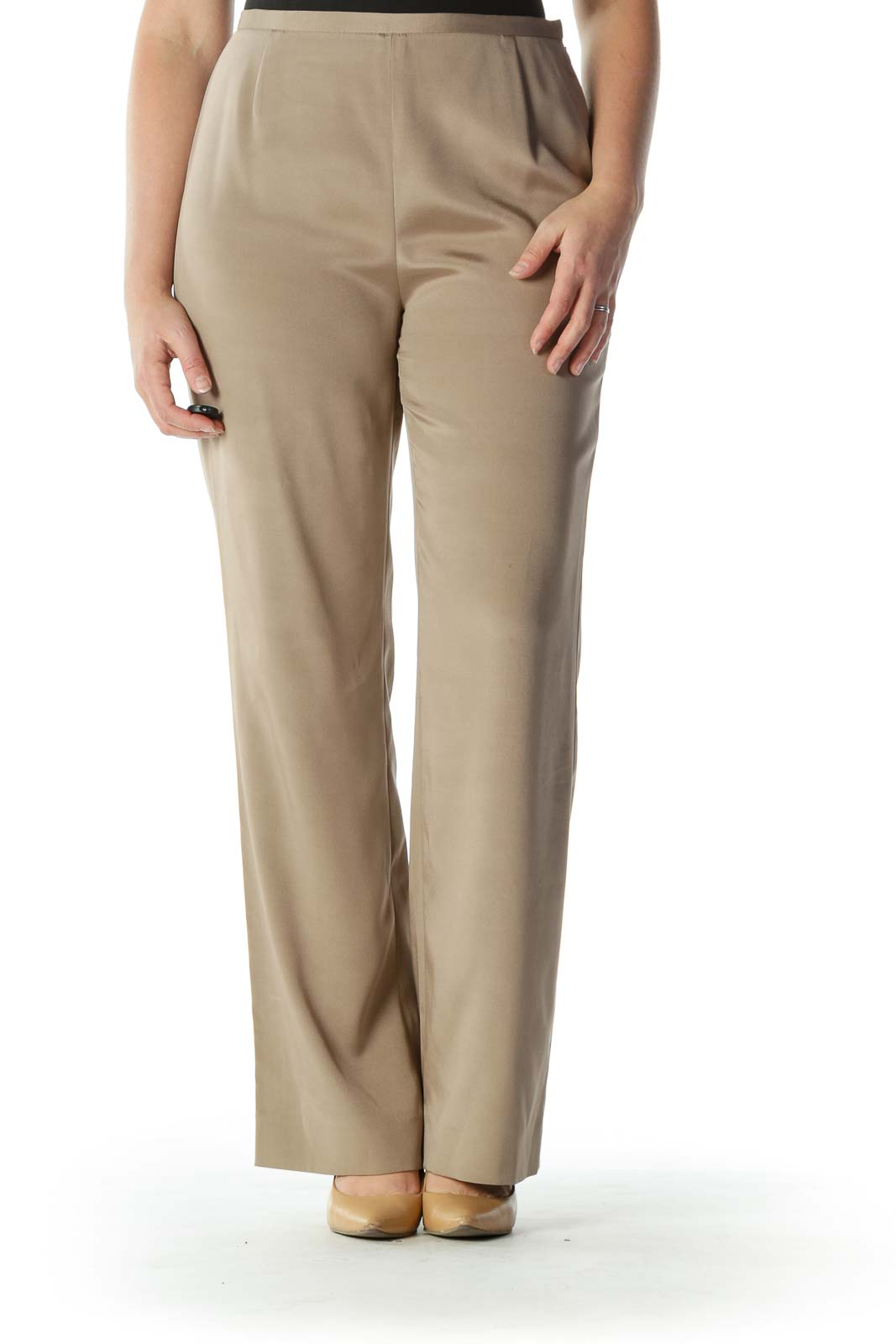 Beige High-Waisted Silk Designer Slacks