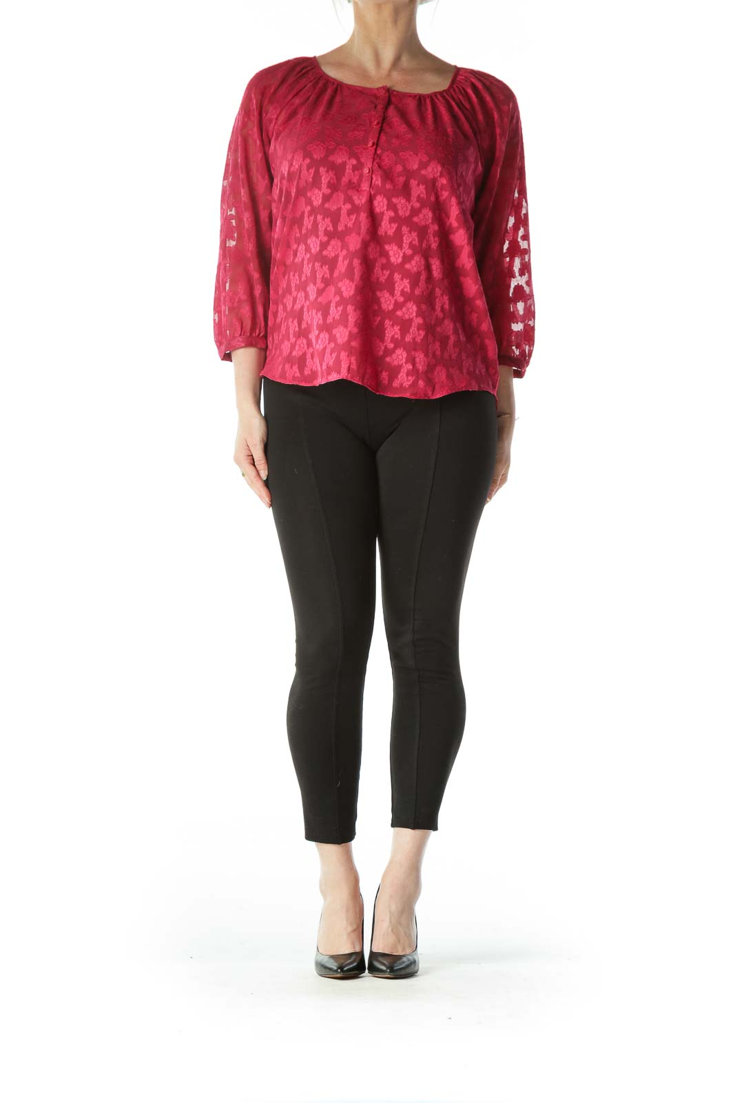 Burgundy Floral Ruffled 3/4 Sleeve Blouse