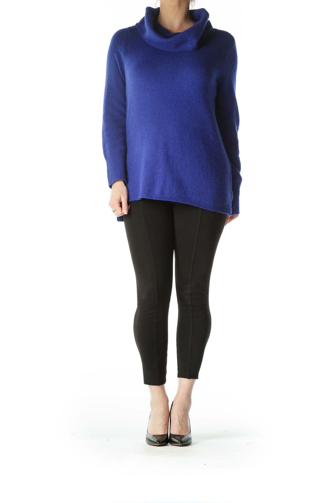 Blue Knit Turtle Neck Long Sweater