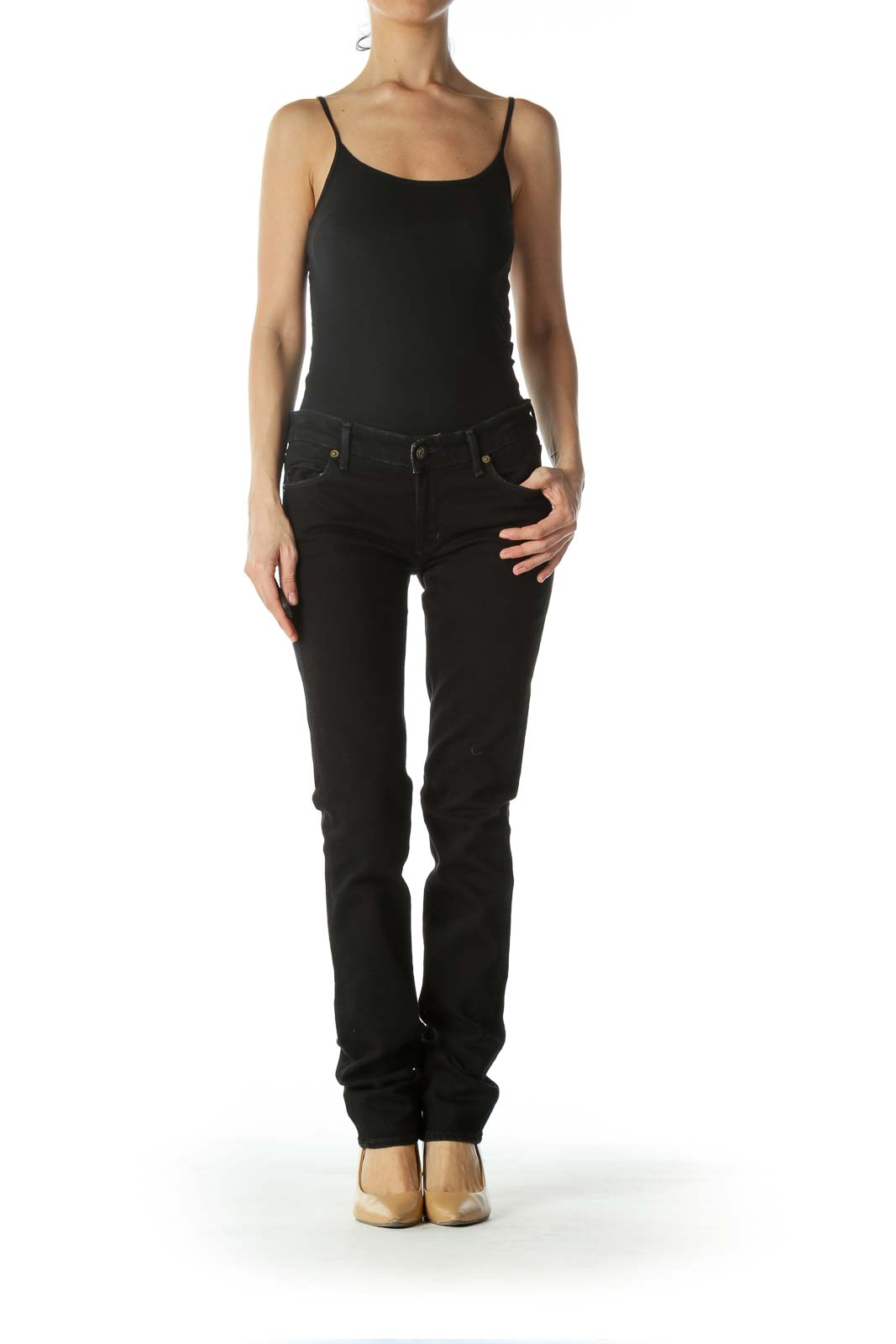 Black Embroidered Skinny Pants