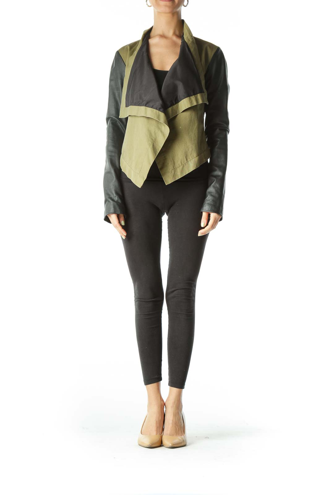 Green Black Long Sleeve Leather Jacket