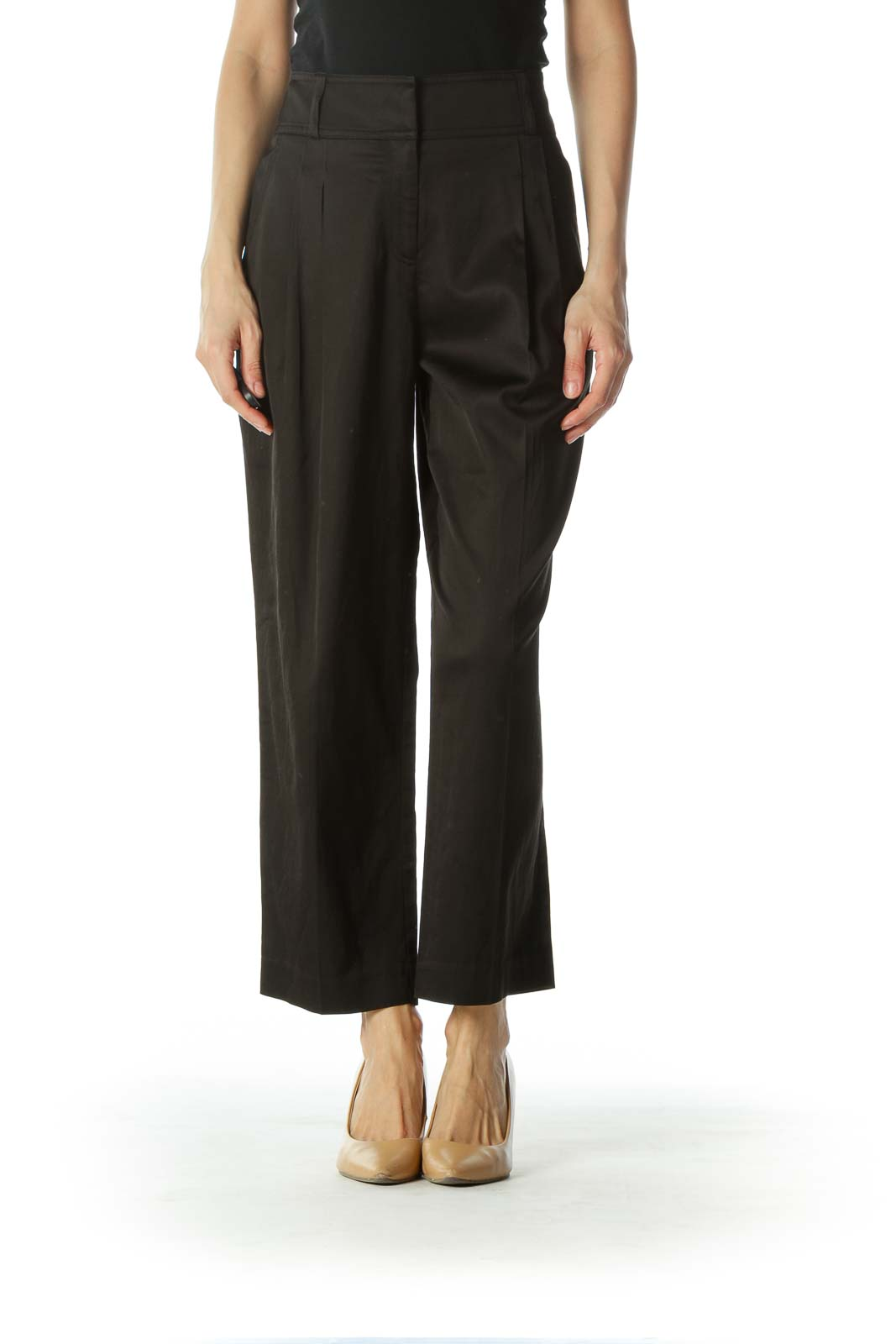 Black Pleated High-Waisted Slacks