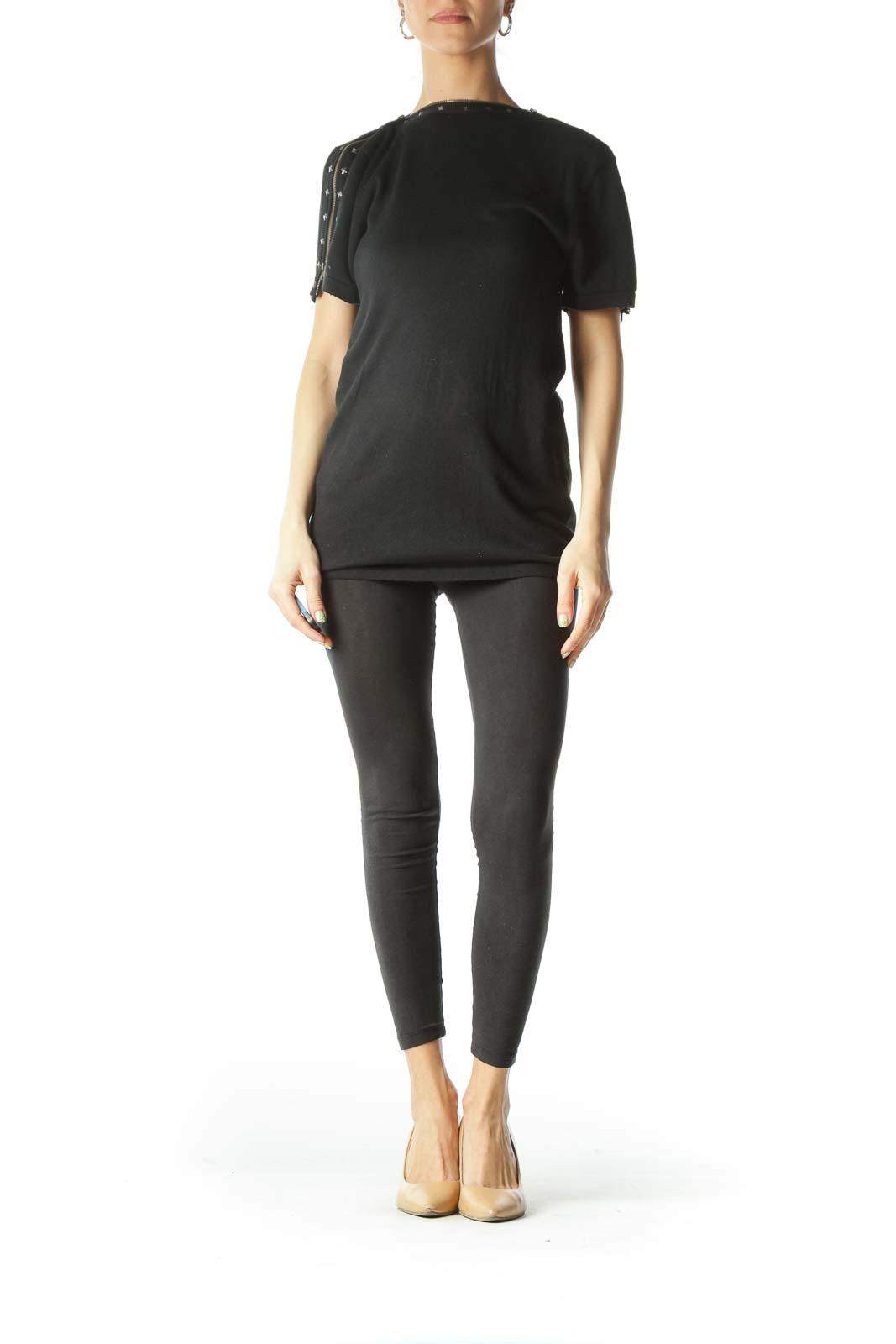 Black Shoulder Zippered Studded Tunic Top