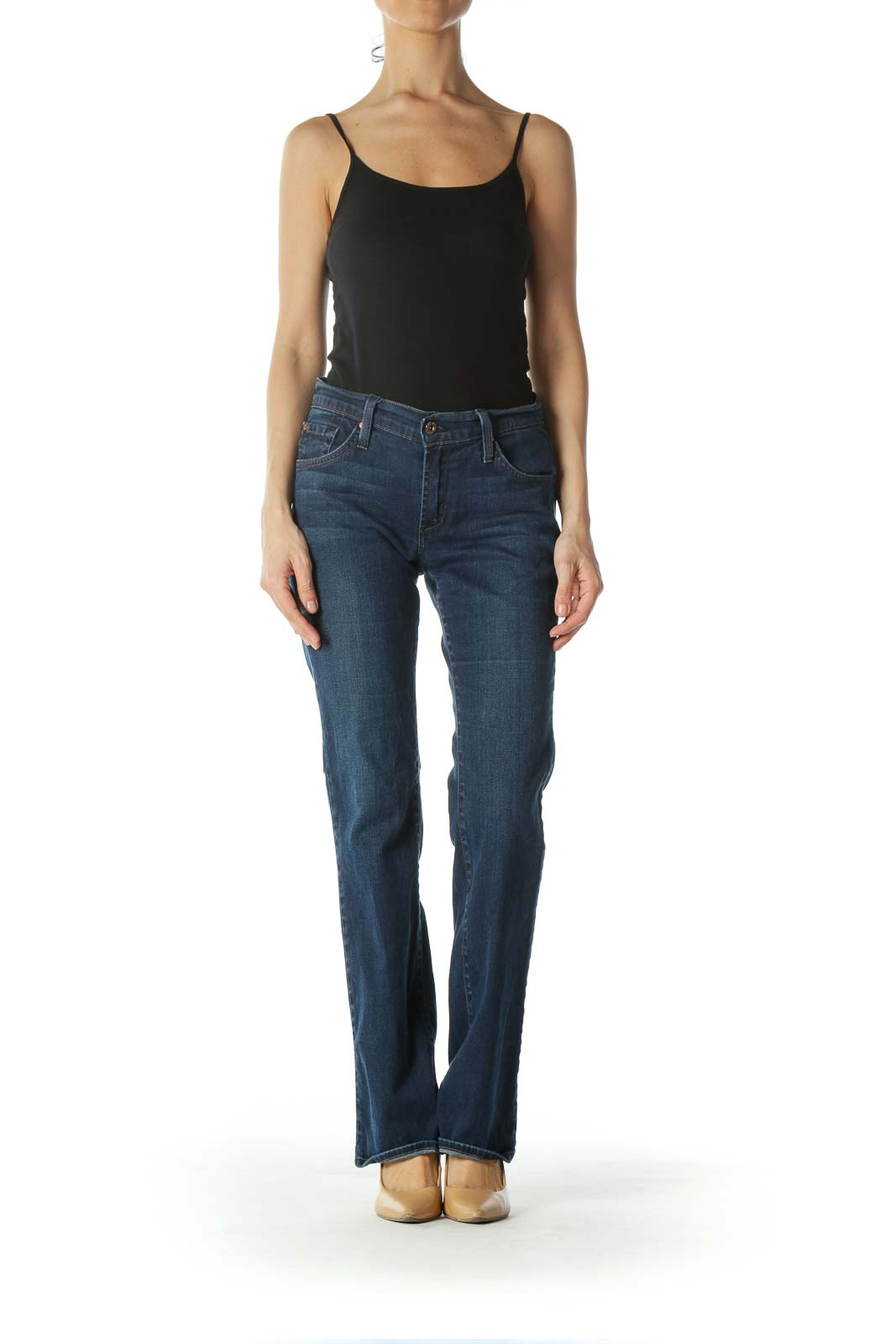 Blue Mid-Rise Boot-Cut Jeans