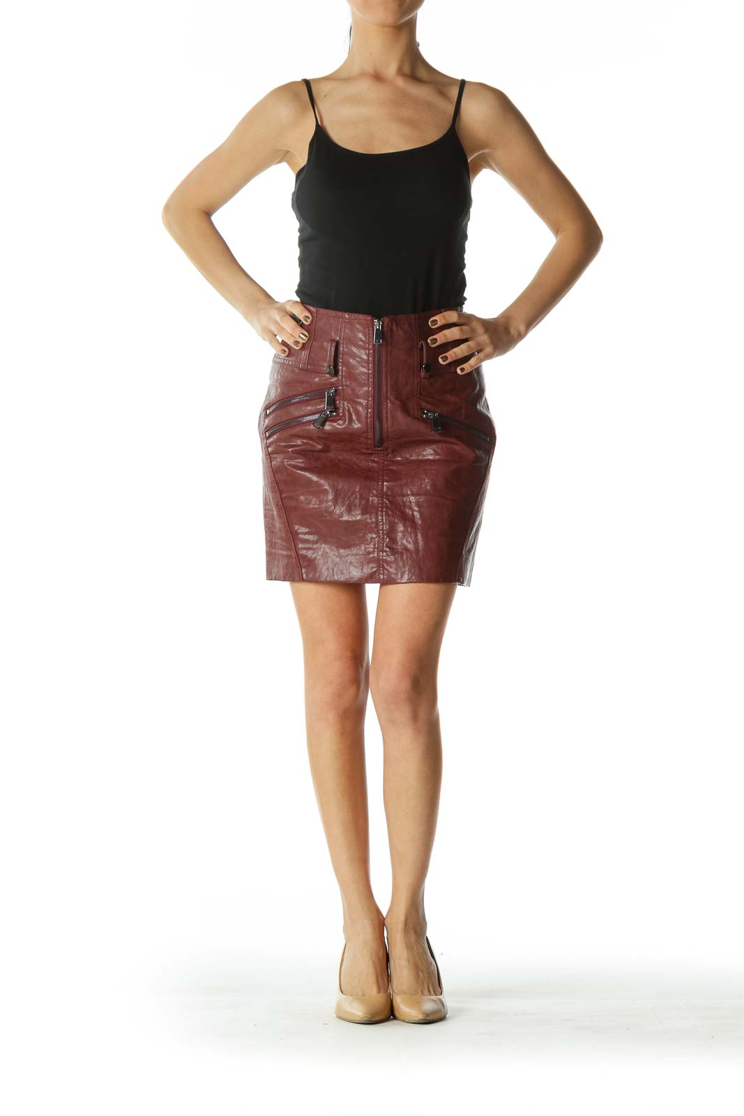 Brown Zippered Mini Skirt