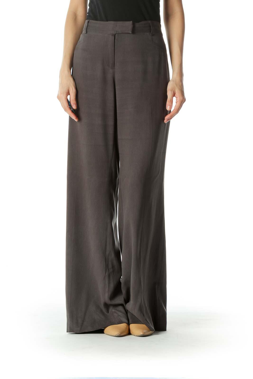 Gray 100% Silk Wide Leg Pants
