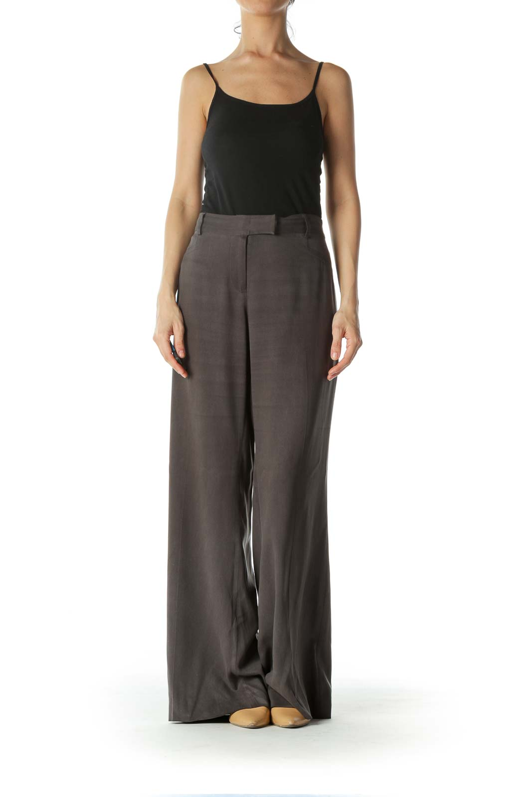Gray 100% Silk Wide Leg Pants