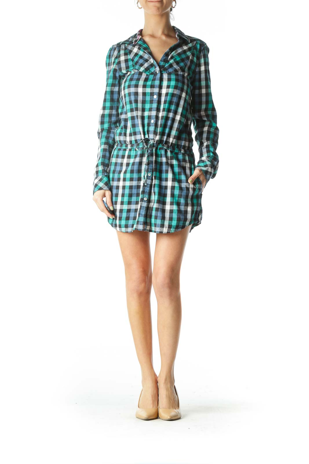 Blue Plaid Long Sleeve Shirt Dress