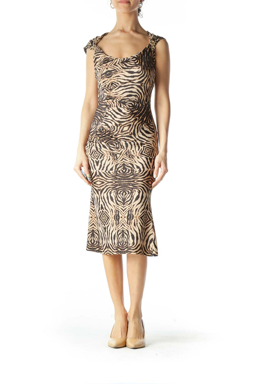 Brown Animal Print Cocktail Dress