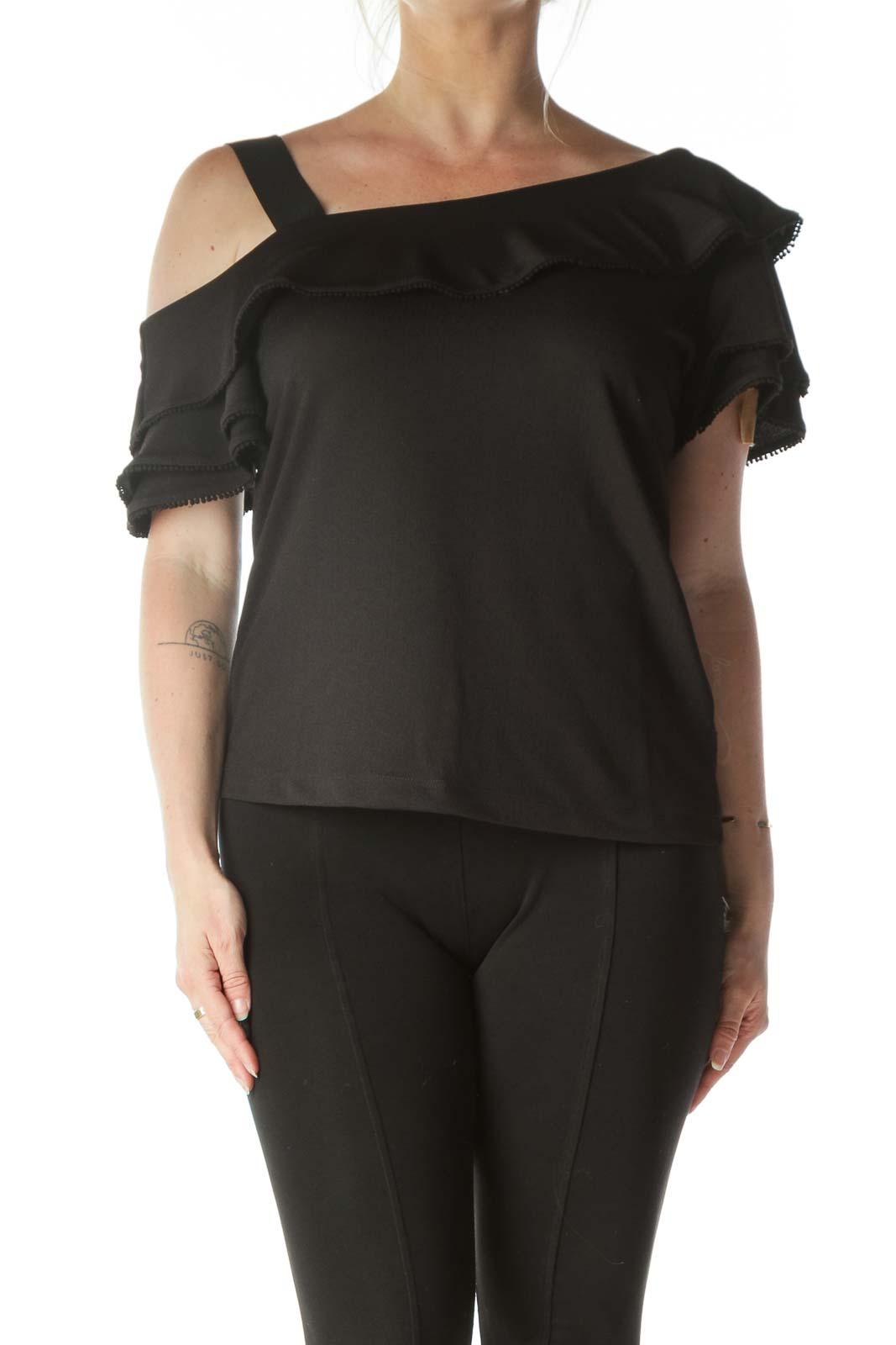 Black One Shoulder Embellished Blouse