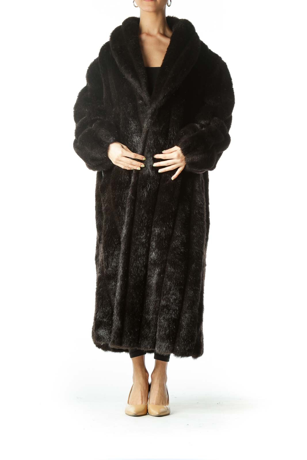 Black Long Faux-Fur Coat