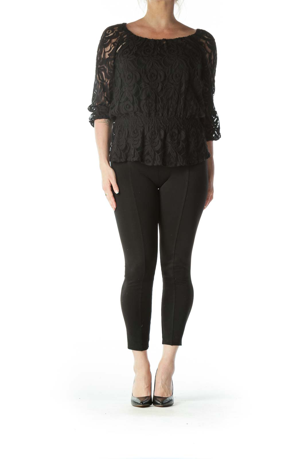 Black Sheer Lacey Round Neck Shirt