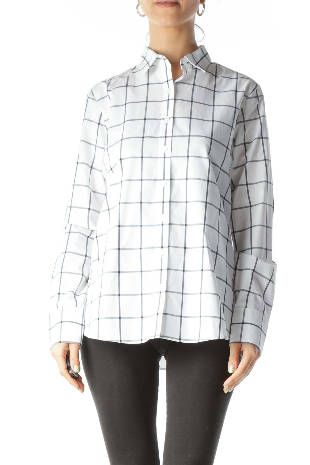 White Windowpane Button Up Shirt
