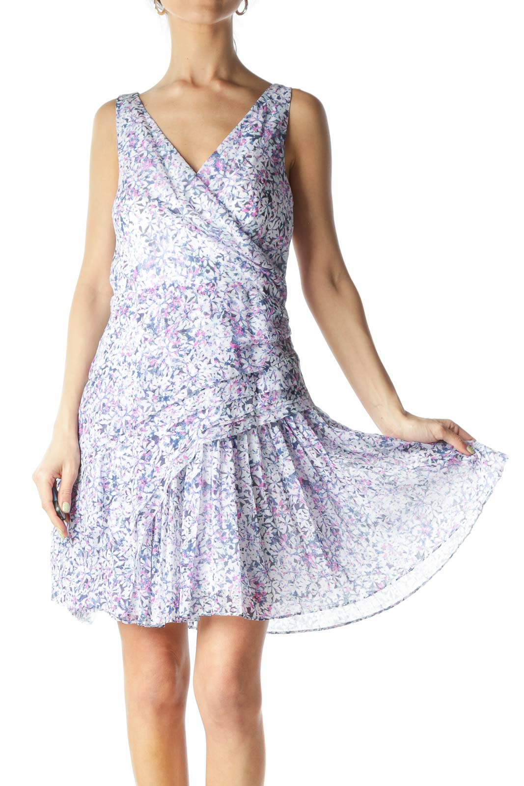 Multicolor Floral Pleated Day Dress